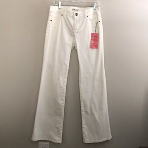 """CAbi """"We Are CAbi in the pink"""" white wide leg jean"""